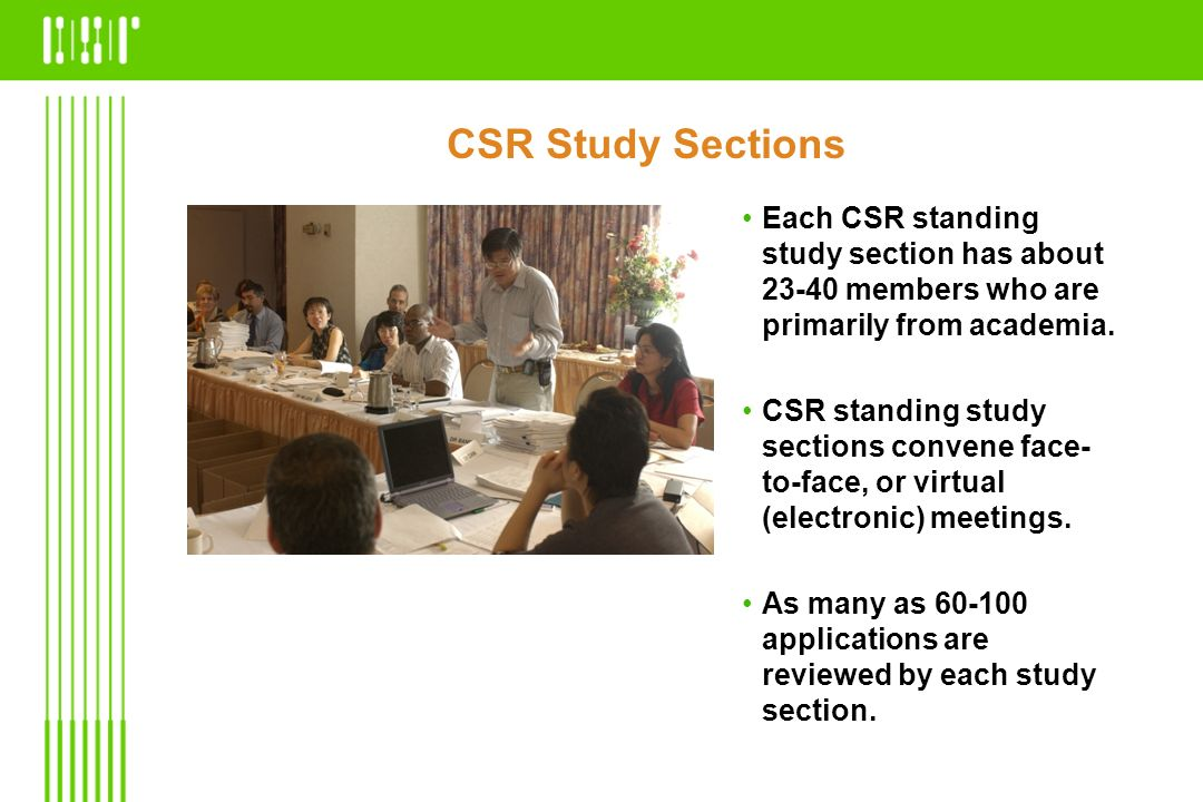 CSR Study Sections Each CSR standing study section has about 23-40 members who are primarily from academia.