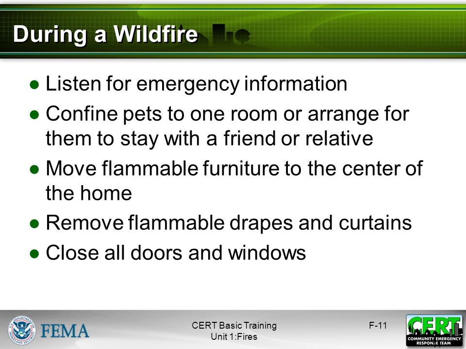 During a Wildfire Listen for emergency information