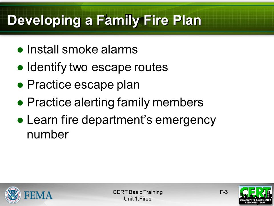Developing a Family Fire Plan