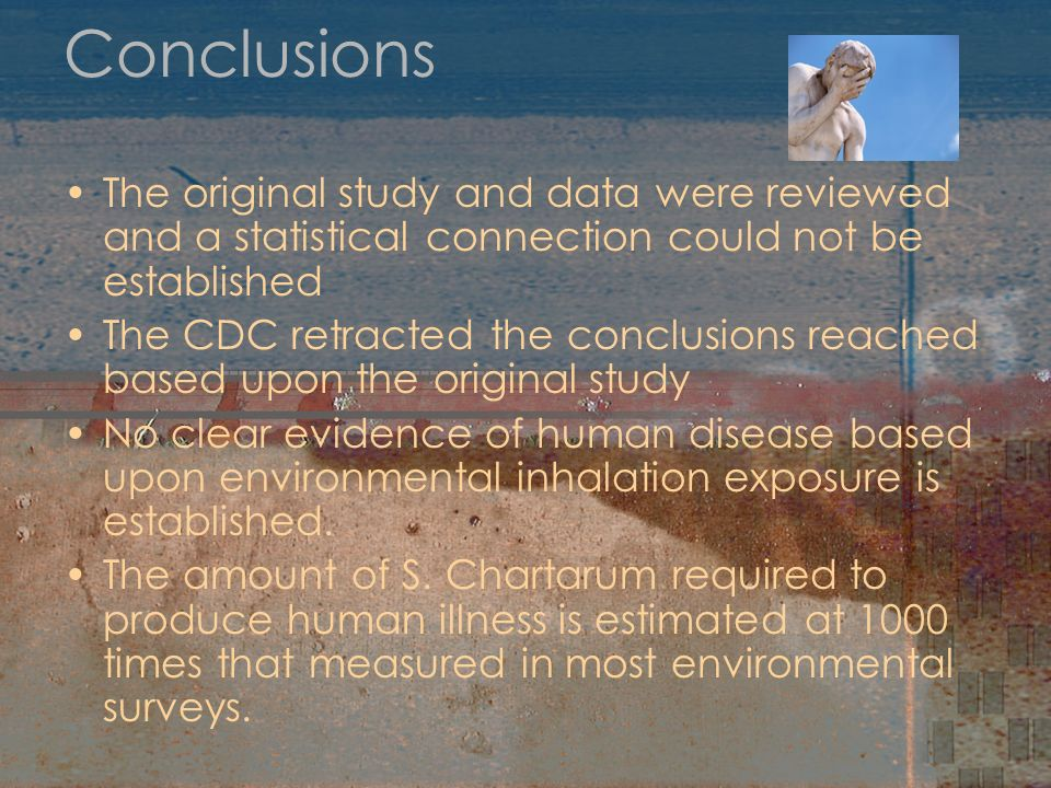 Conclusions The original study and data were reviewed and a statistical connection could not be established.