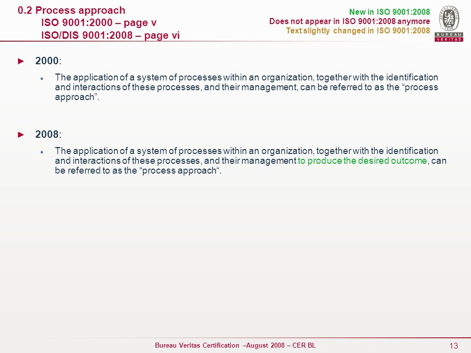 0.2 Process approach ISO 9001:2000 – page v ISO/DIS 9001:2008 – page vi