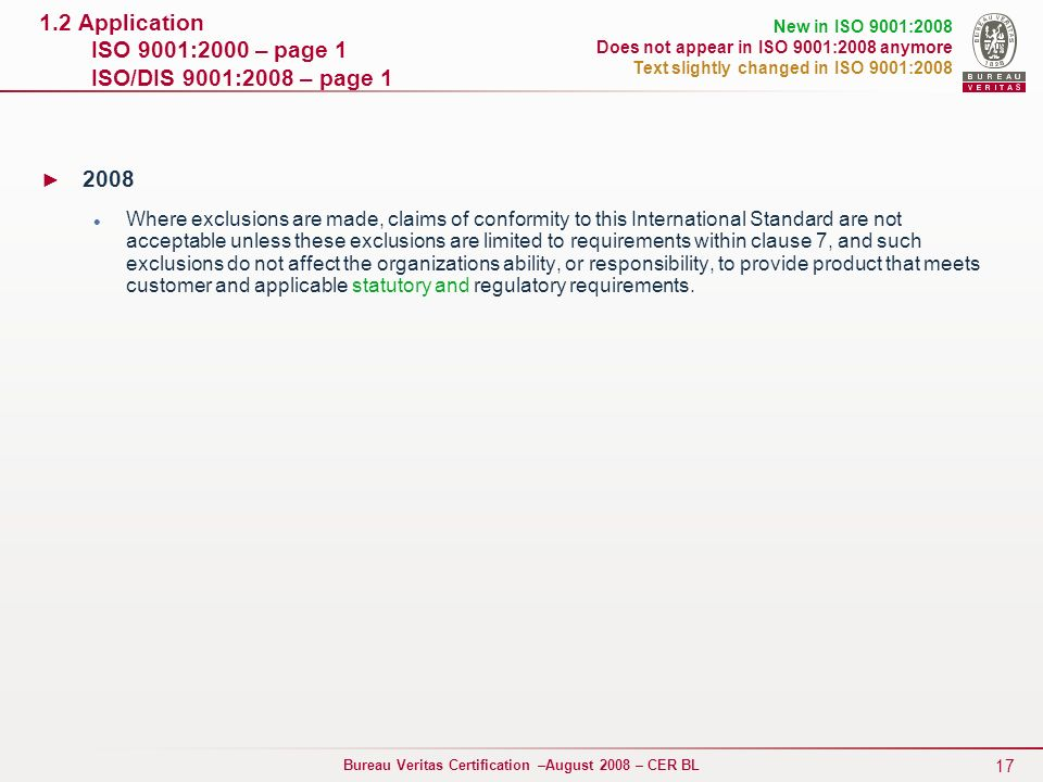 1.2 Application ISO 9001:2000 – page 1 ISO/DIS 9001:2008 – page 1