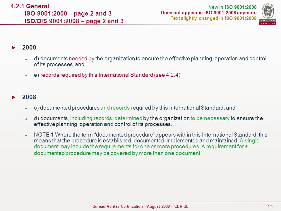 4.2.1 General ISO 9001:2000 – page 2 and 3 ISO/DIS 9001:2008 – page 2 and 3