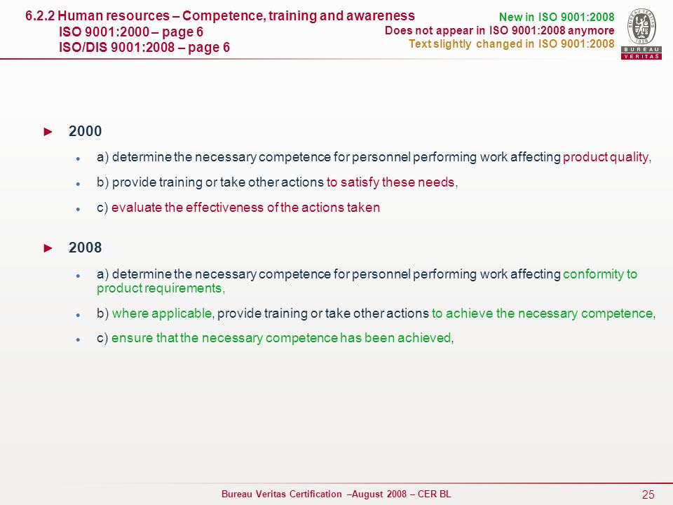 6.2.2 Human resources – Competence, training and awareness ISO 9001:2000 – page 6 ISO/DIS 9001:2008 – page 6