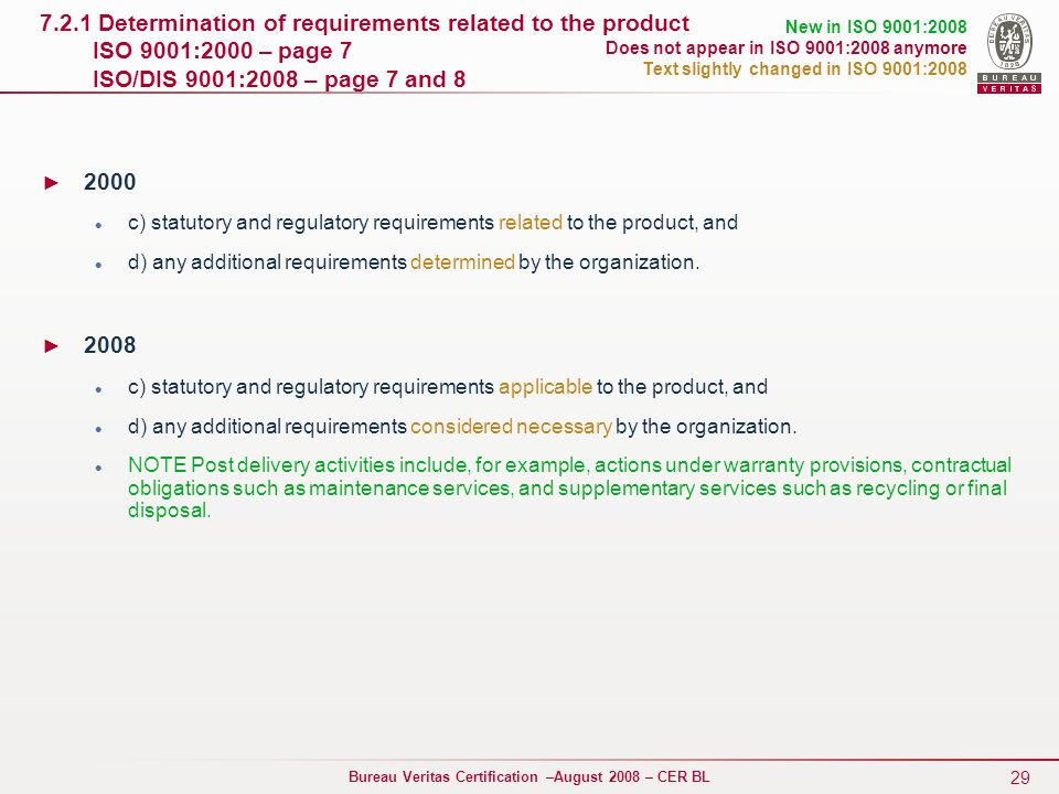 7.2.1 Determination of requirements related to the product ISO 9001:2000 – page 7 ISO/DIS 9001:2008 – page 7 and 8