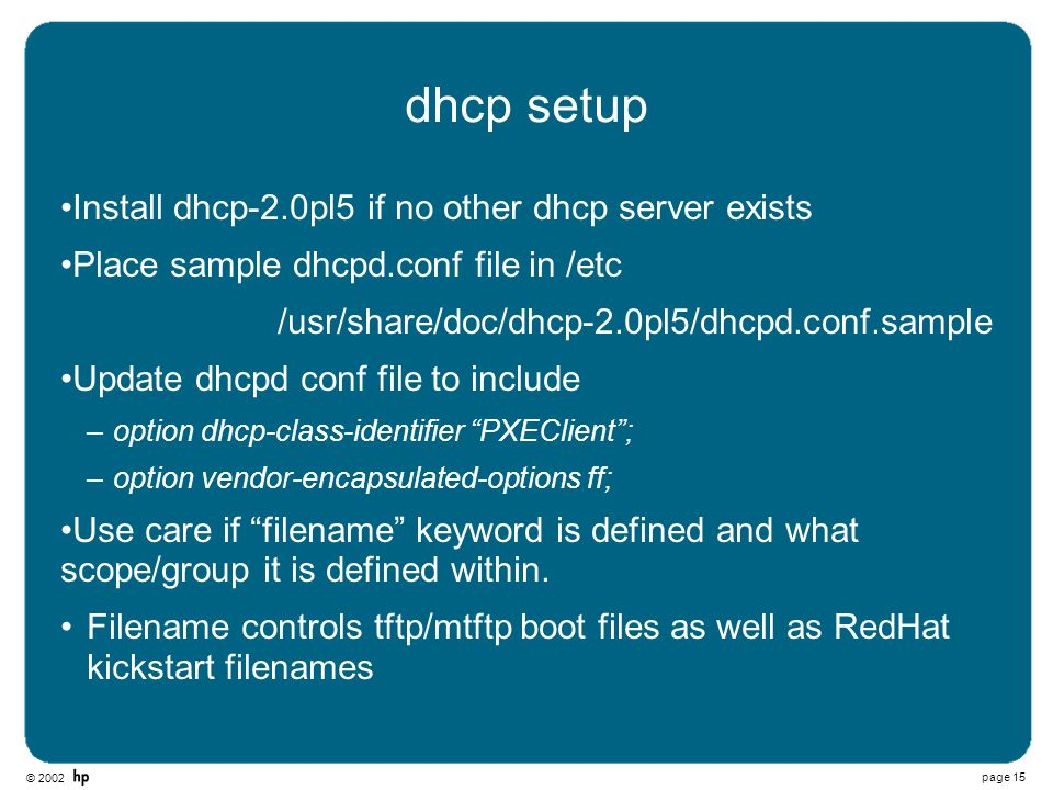 dhcp setup Install dhcp-2.0pl5 if no other dhcp server exists