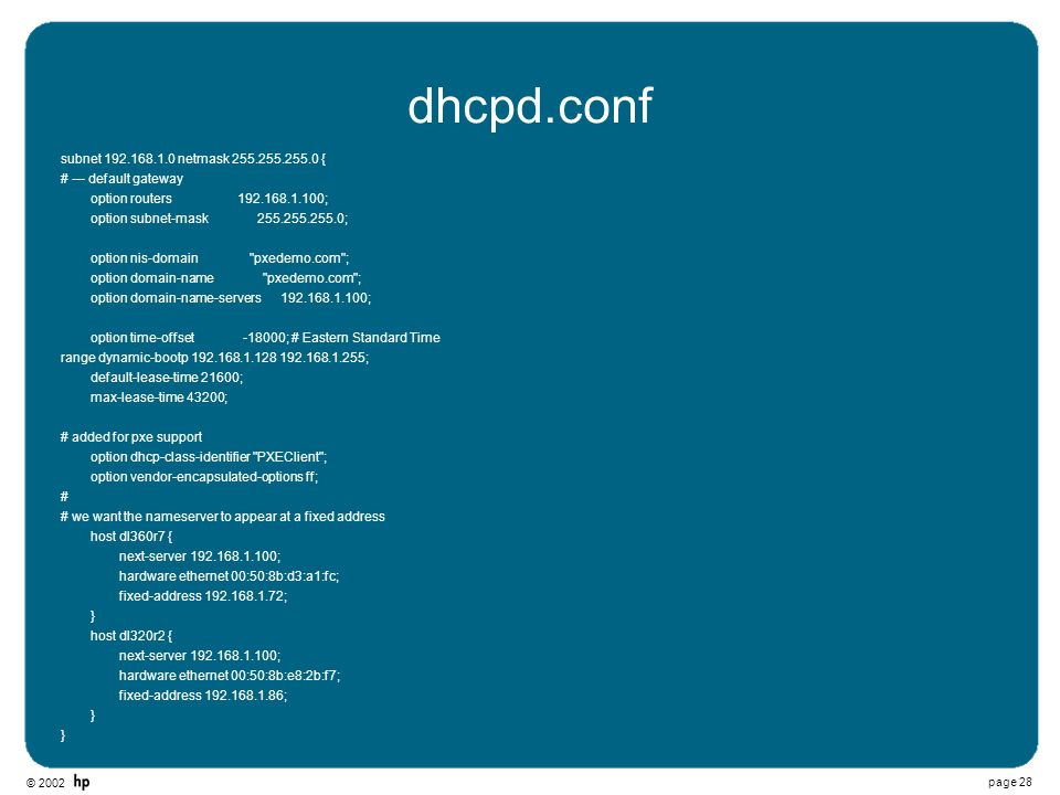 dhcpd.conf subnet 192.168.1.0 netmask 255.255.255.0 {