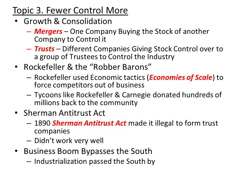 Topic 3. Fewer Control More