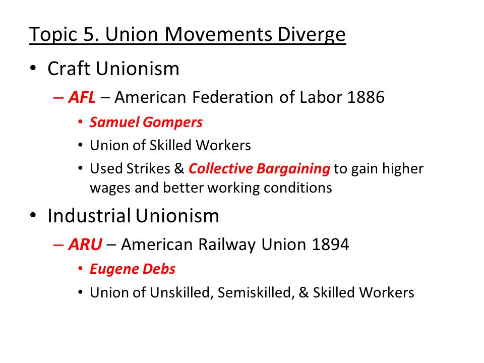 Topic 5. Union Movements Diverge