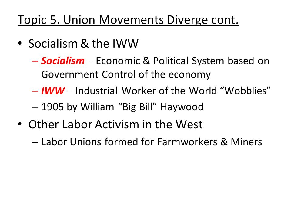 Topic 5. Union Movements Diverge cont.