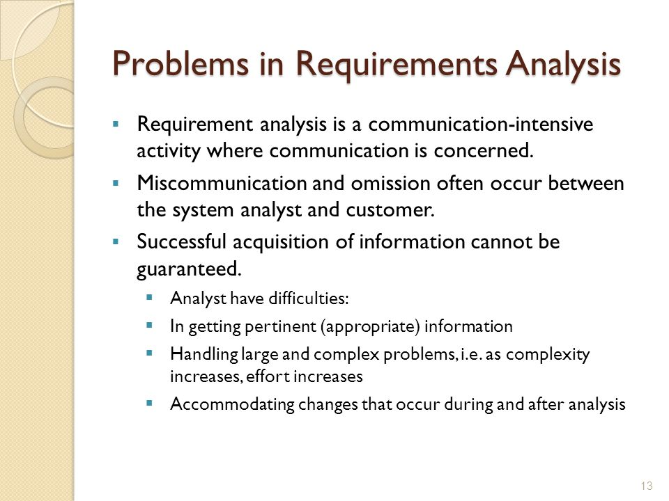 Problems in Requirements Analysis