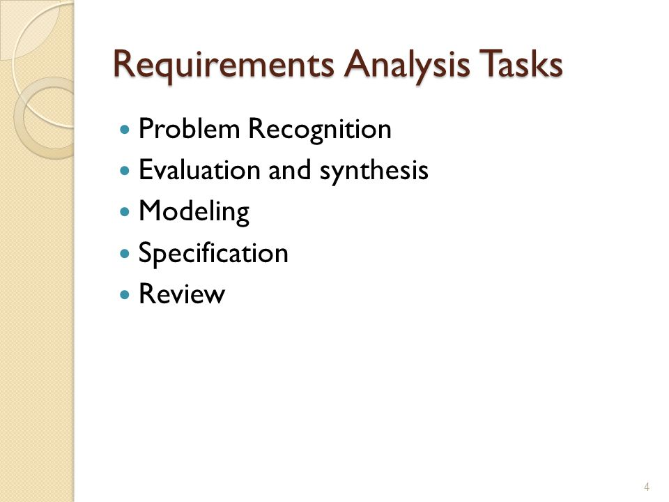 Requirements Analysis Tasks