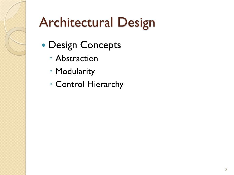Architectural Design Design Concepts Abstraction Modularity