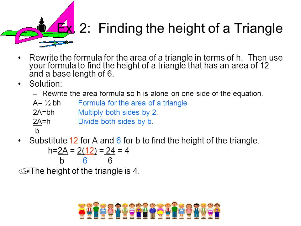 Ex. 2: Finding the height of a Triangle