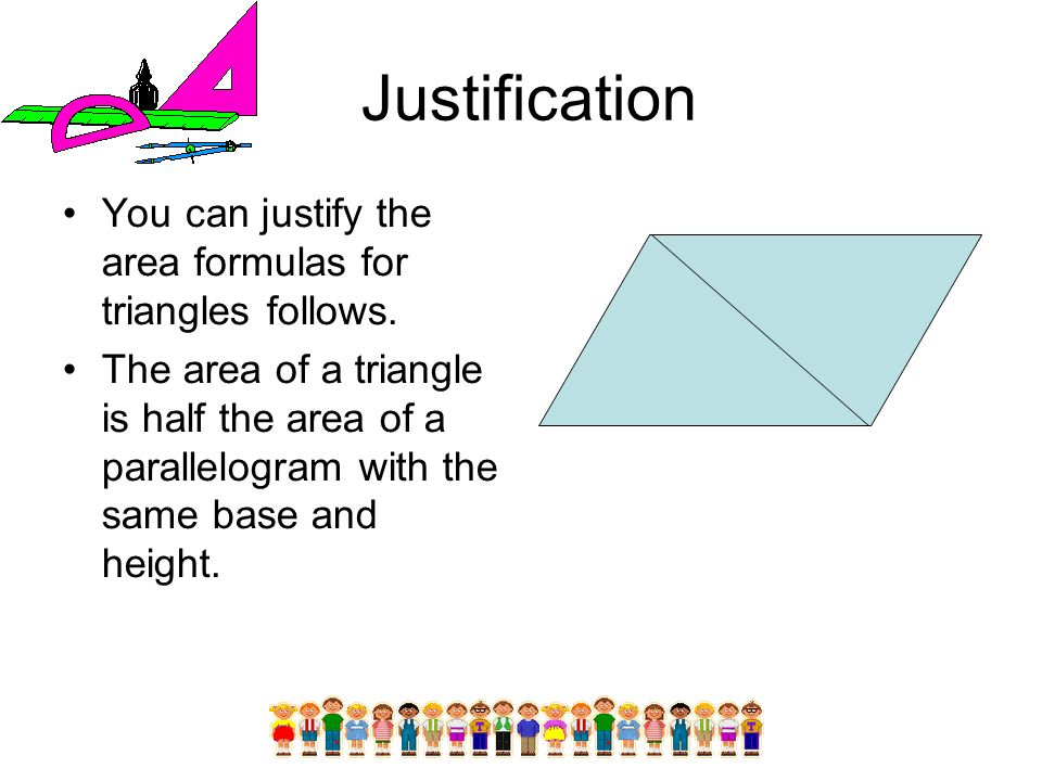Justification You can justify the area formulas for triangles follows.
