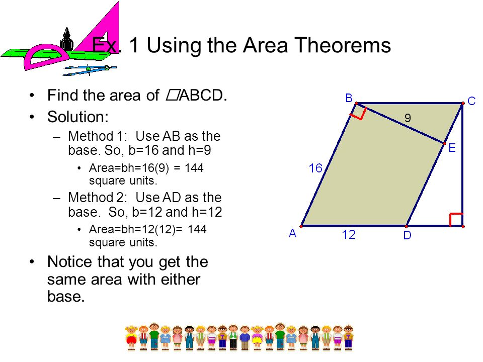 Ex. 1 Using the Area Theorems