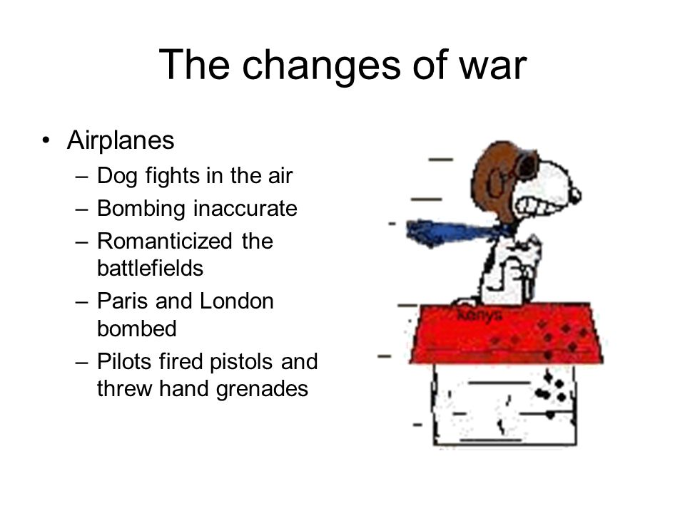 The changes of war Airplanes Dog fights in the air Bombing inaccurate