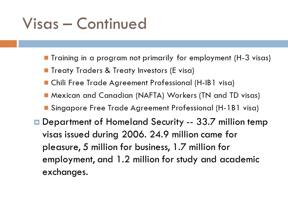 Visas – Continued Training in a program not primarily for employment (H-3 visas) Treaty Traders & Treaty Investors (E visa)