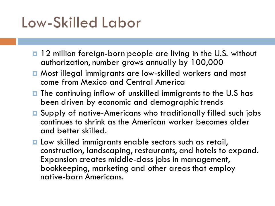 Low-Skilled Labor 12 million foreign-born people are living in the U.S. without authorization, number grows annually by 100,000.