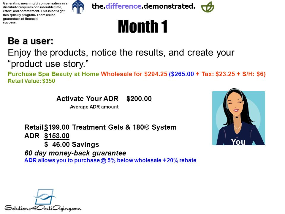 Month 1 Be a user: Enjoy the products, notice the results, and create your product use story.