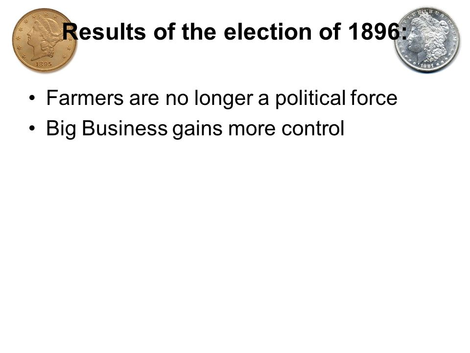 Results of the election of 1896: