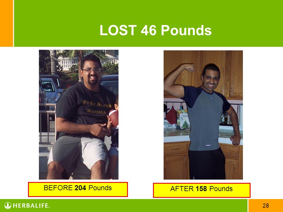 LOST 46 Pounds BEFORE 204 Pounds AFTER 158 Pounds