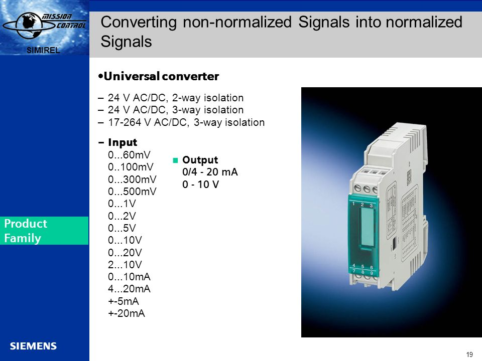 Converting non-normalized Signals into normalized Signals