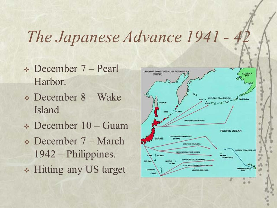The Japanese Advance December 7 – Pearl Harbor.
