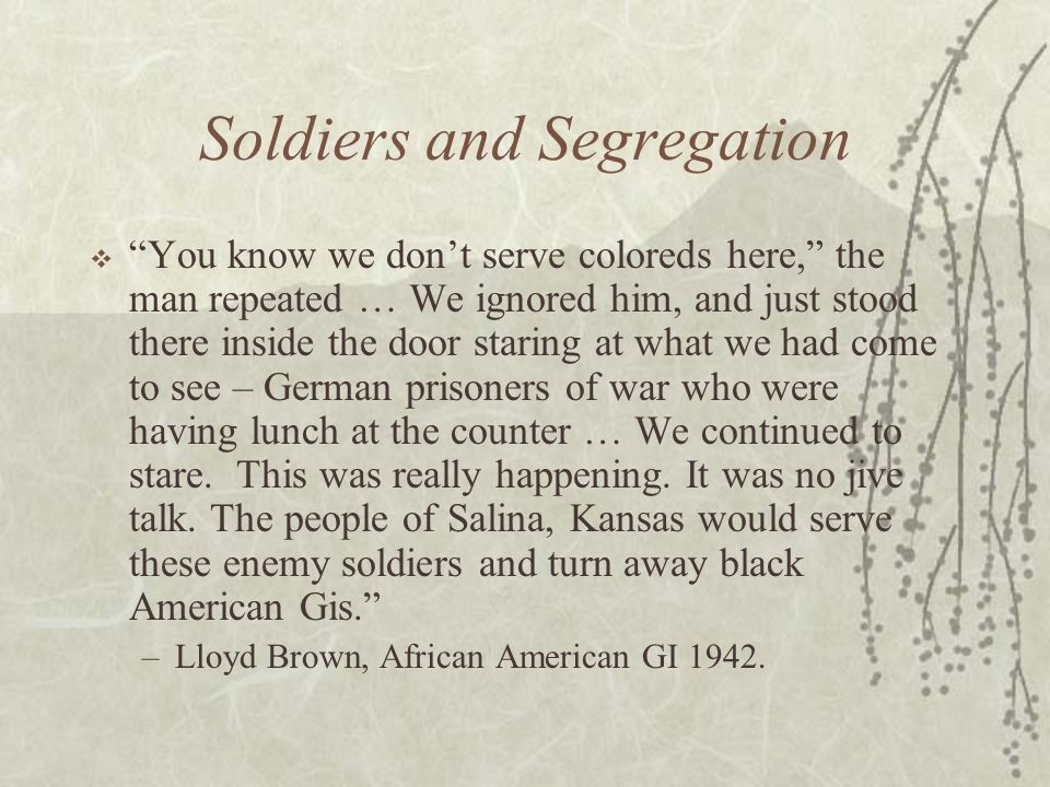 Soldiers and Segregation