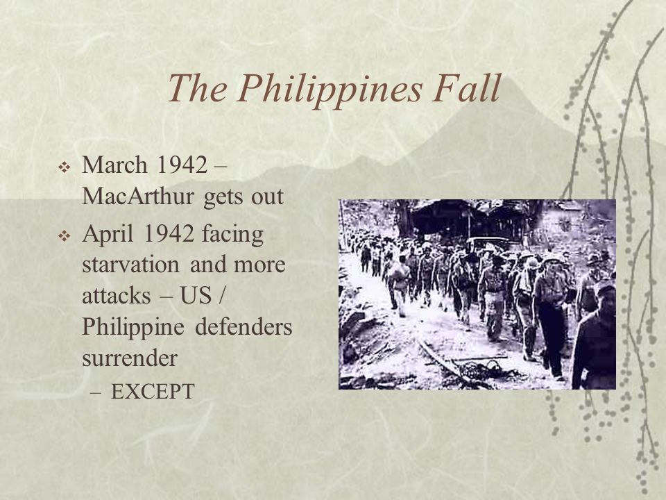 The Philippines Fall March 1942 – MacArthur gets out