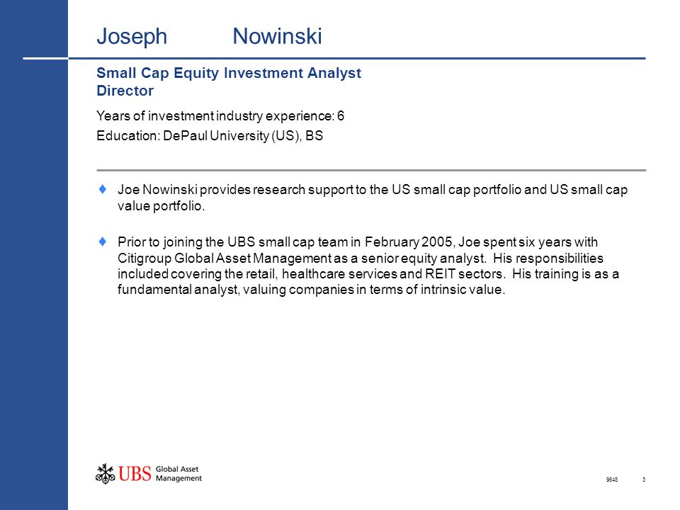 Joseph Nowinski Small Cap Equity Investment Analyst Director