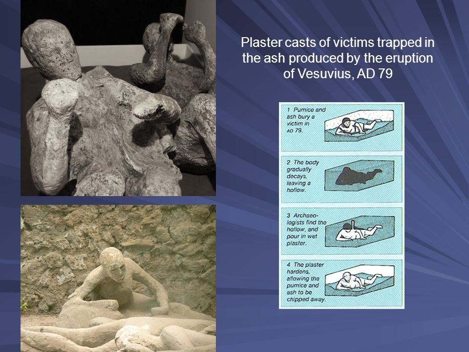 Plaster casts of victims trapped in the ash produced by the eruption of Vesuvius, AD 79