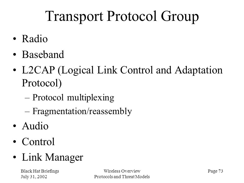 Transport Protocol Group