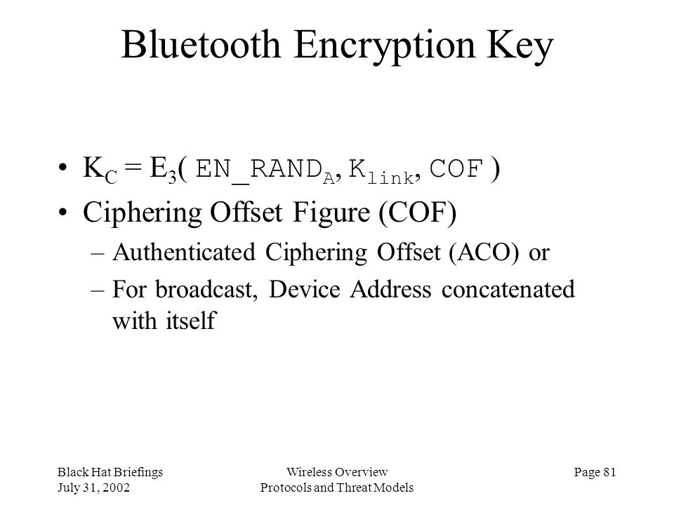 Bluetooth Encryption Key