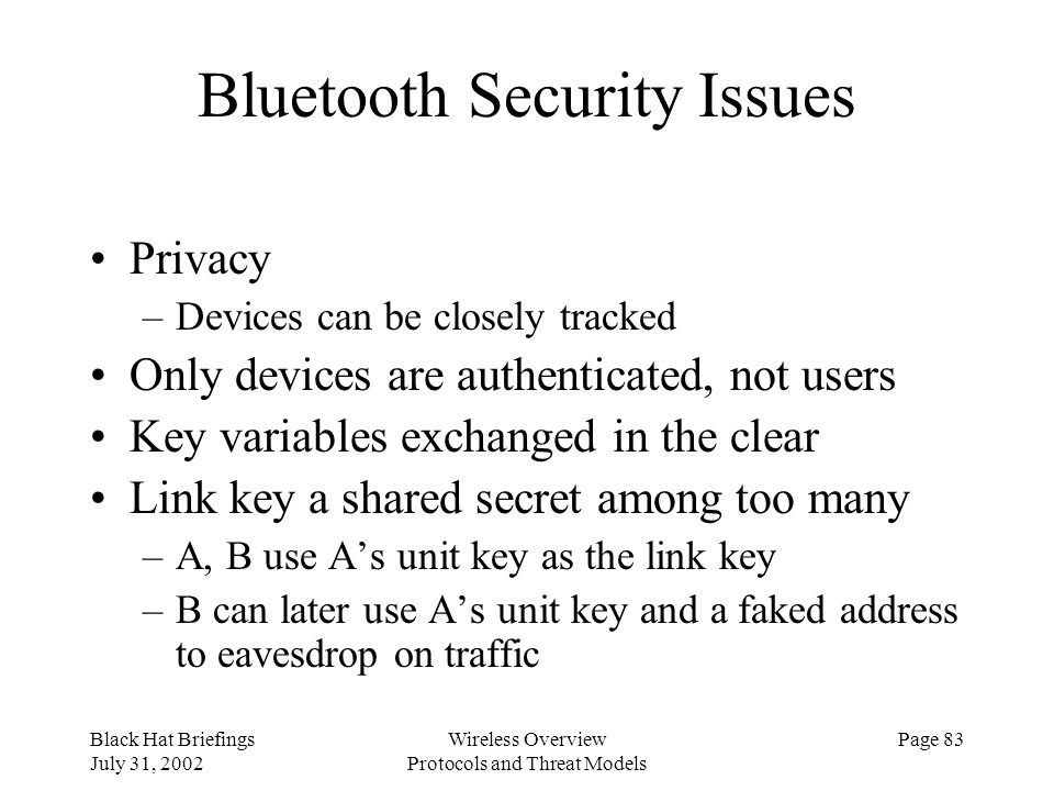 Bluetooth Security Issues