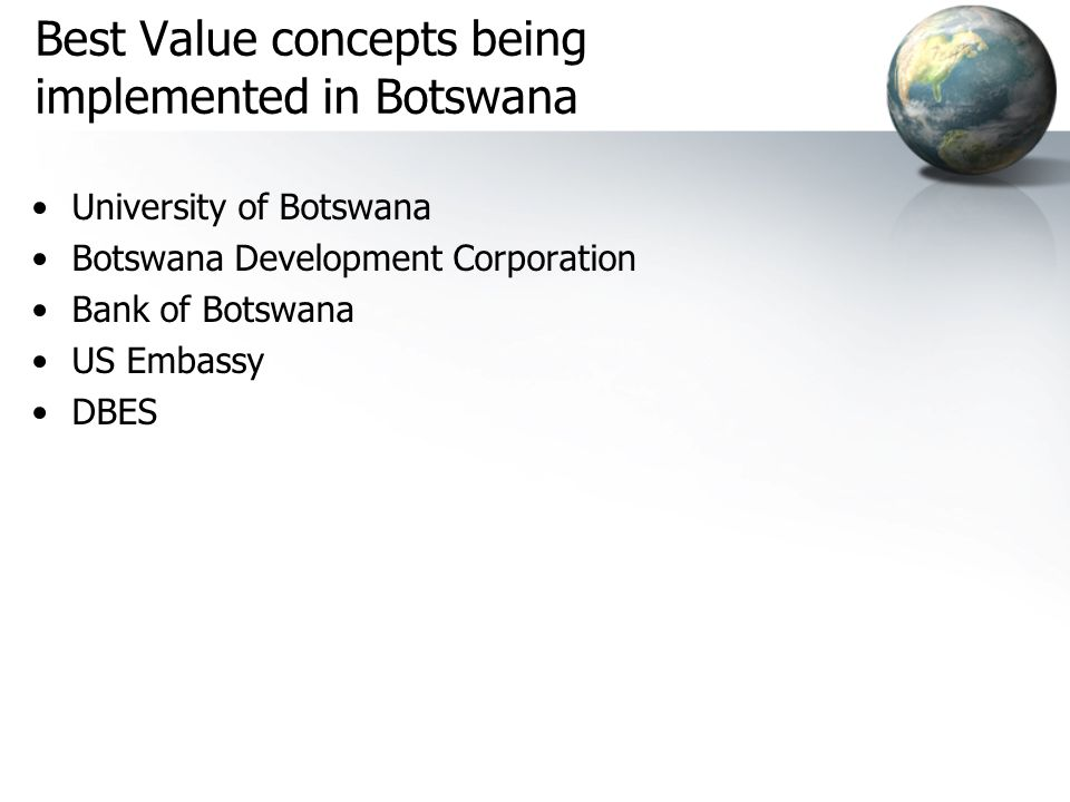 Best Value concepts being implemented in Botswana