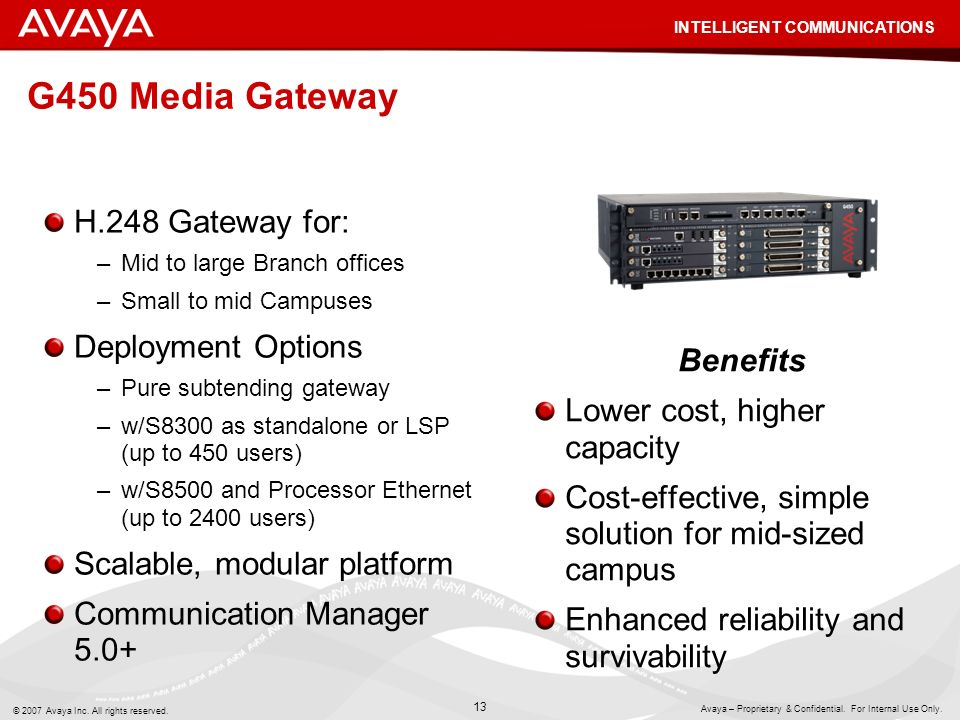 G450 Media Gateway H.248 Gateway for: Deployment Options Benefits