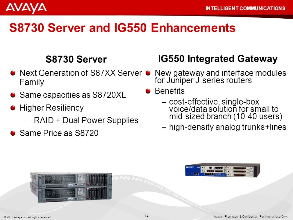 S8730 Server and IG550 Enhancements