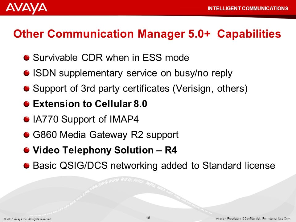 Other Communication Manager 5.0+ Capabilities