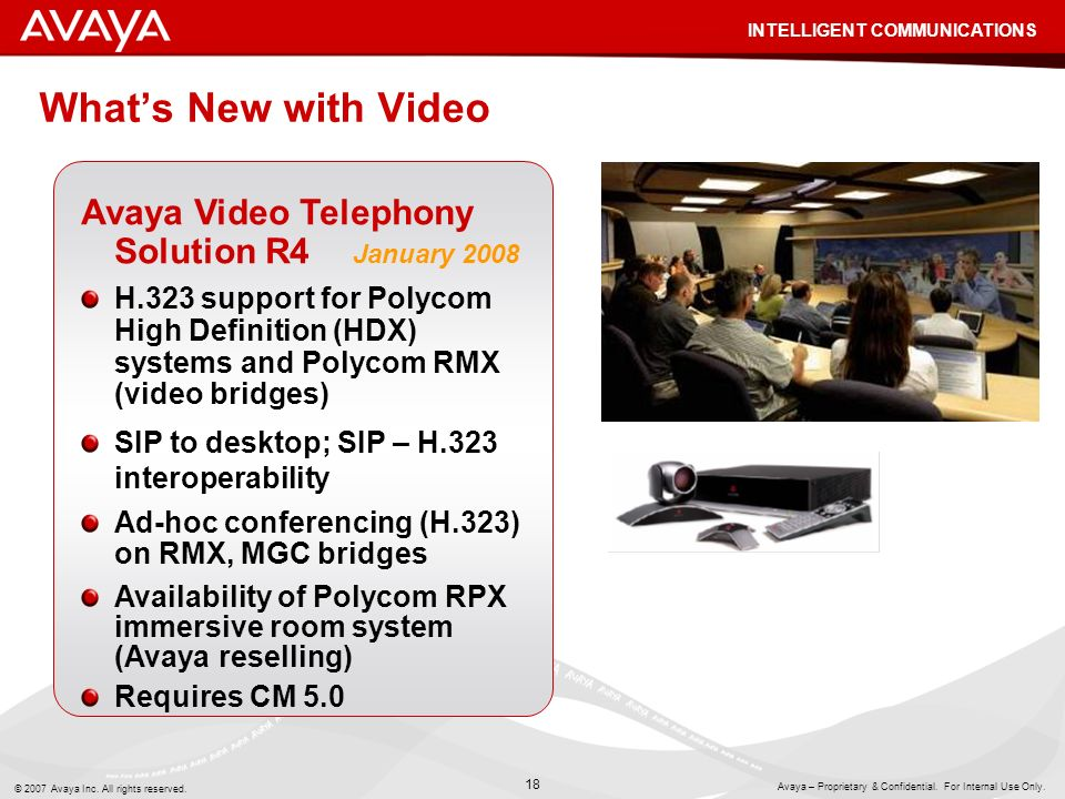 What's New with Video Avaya Video Telephony Solution R4 January 2008