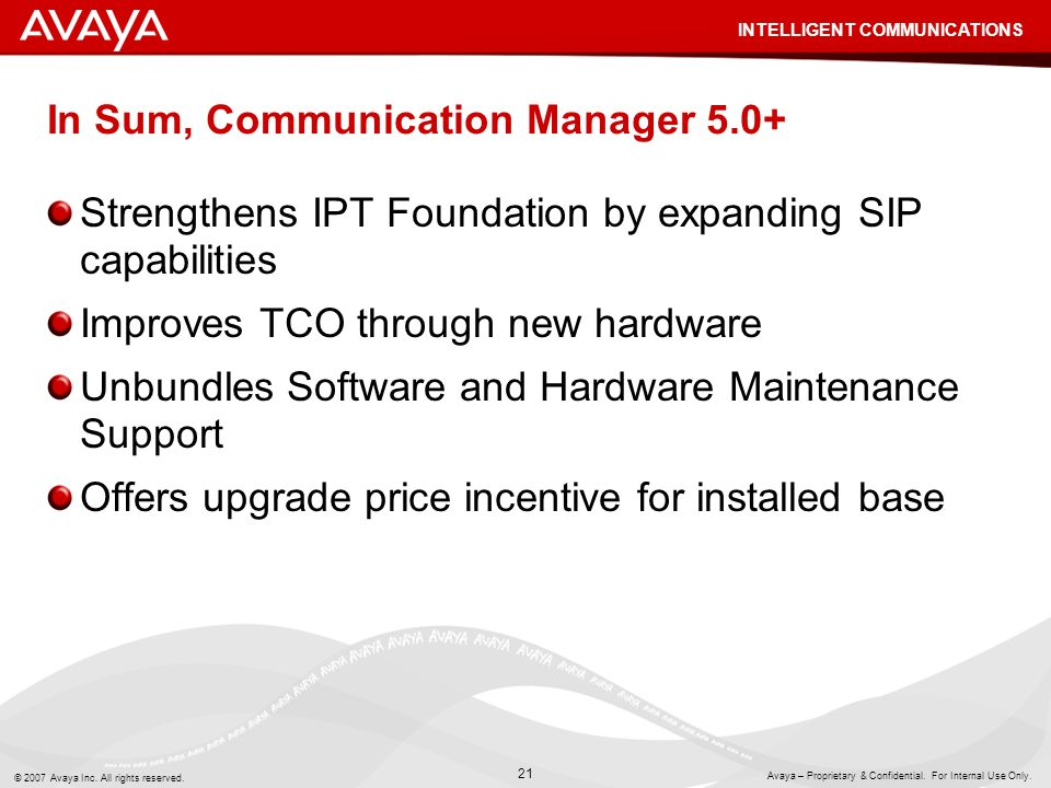 In Sum, Communication Manager 5.0+