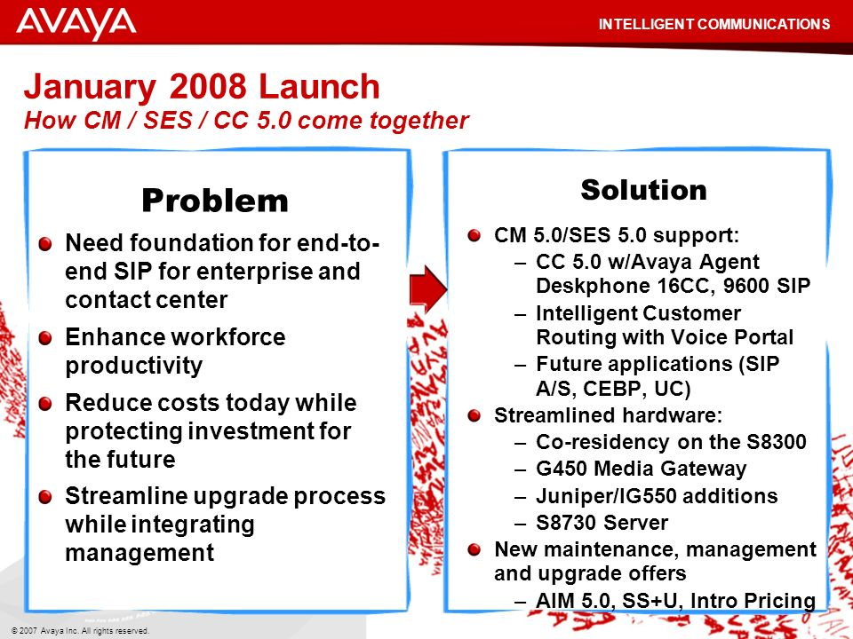 January 2008 Launch How CM / SES / CC 5.0 come together