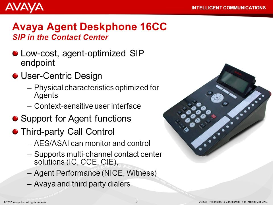 Avaya Agent Deskphone 16CC SIP in the Contact Center