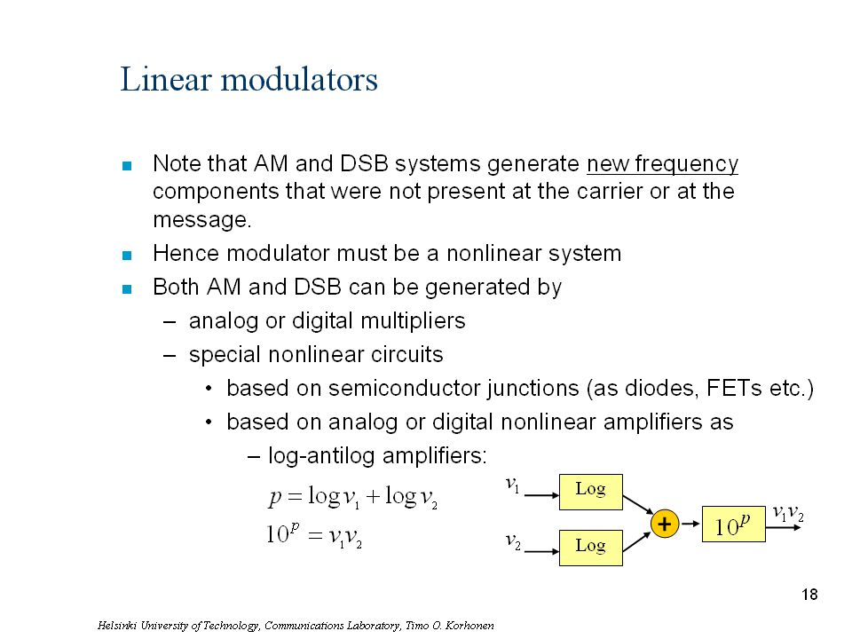 Linear modulators Note that AM and DSB systems generate new frequency components that were not present at the carrier or at the message.