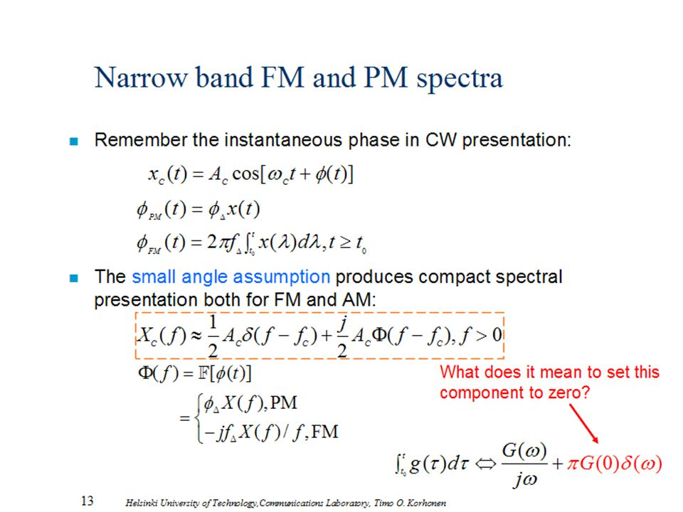 Narrow band FM and PM spectra