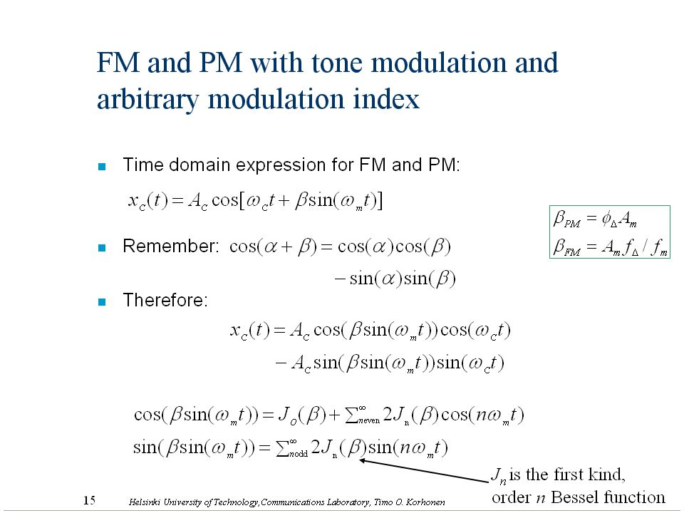 FM and PM with tone modulation and arbitrary modulation index
