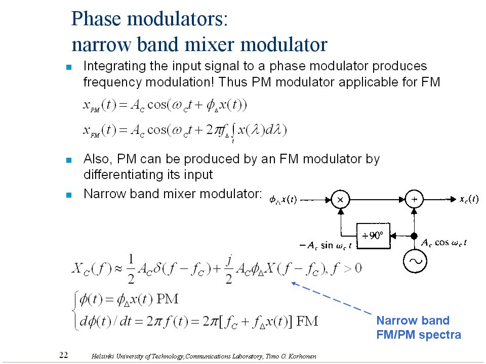 Phase modulators: narrow band mixer modulator