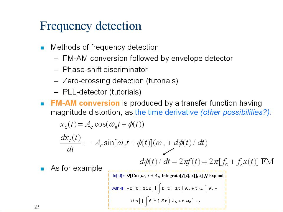 Frequency detection Methods of frequency detection