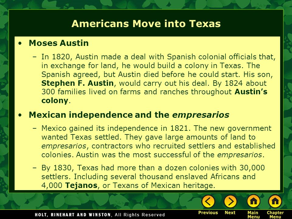 Americans Move into Texas