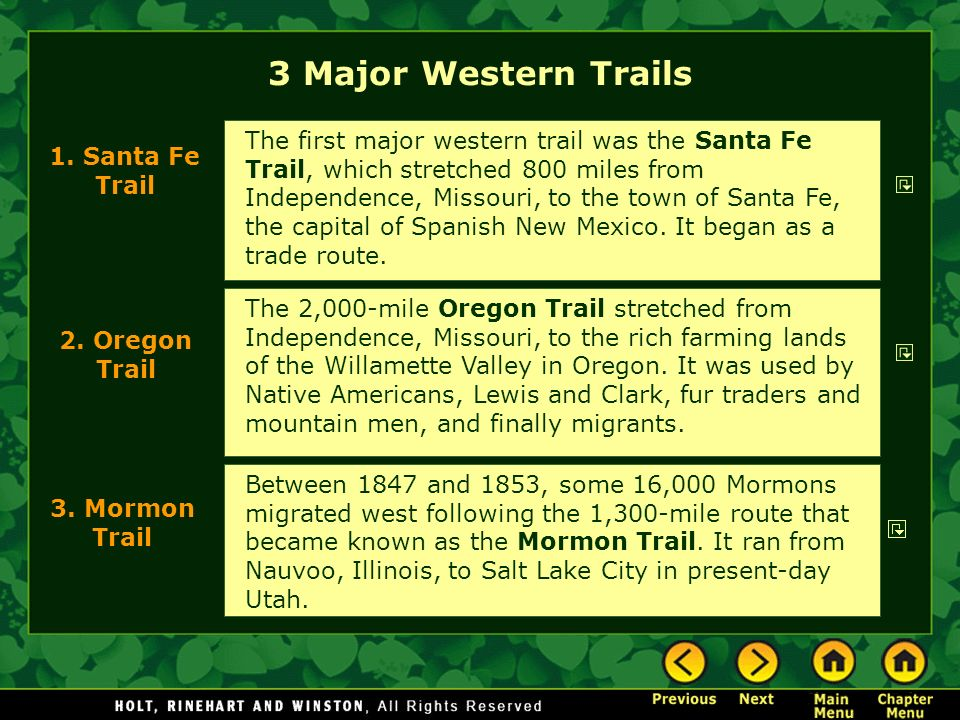 3 Major Western Trails